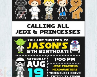 "Star Wars invitation, Star Wars birthday invitation, Star Wars party invitation, Personalized invite, 4x6"" and 5x7"" sizes"