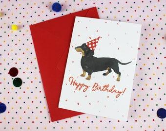 Dachshund Birthday card / Dog Birthday card / Personalised card / Sausage Dog card / Wiener dog card / Cute birthday card / Dachshund card.