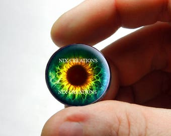 Glass Eyes - Green Yellow Human Zombie Doll Eyeball Flat Cabochons - Pair or Single - You Choose Size