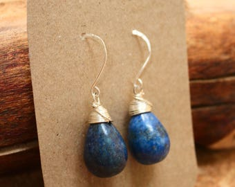 Lapis Lazuli Gemstone Earring Drop Wire Wrapped - Protection
