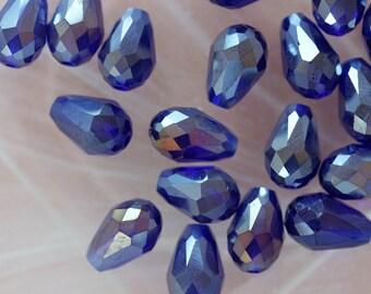 Set of 2 drop beads crystal blue