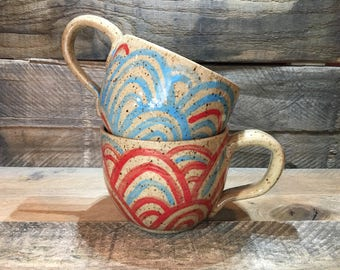 Ceramic Latte Mug / Teacup / Hand-painted / Blue and Red Scallops - READY TO SHIP