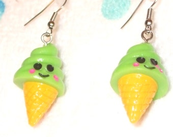 Cute & Smiley Lime Green Ice Cream Cone Earrings