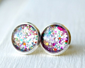 colorful stud earrings, colorful jewelry, sparkle earrings, gift for her, rainbow jewelry
