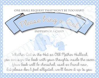 Blue and Grey Elephant Baby Shower Book Request Cards/ Polka Dot blue boy baby elephant please bring a book shower invitation - PRINTABLE!!!
