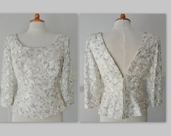 Lovely Vintage Top // Ivory Brocade // Lined