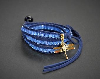 Chan Luu Inspired Wrap Bracelet/ Crystal Beads Soft Leather with Dragonfly Pendant Bracelet /Handmade Bracelet /Perfect Gift