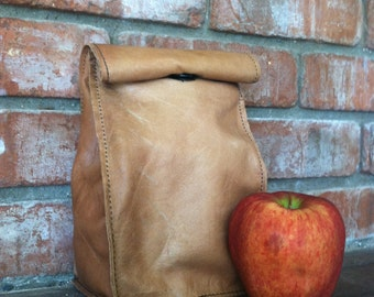 Leather Lunch Sack/ Lunch Bag/ Leather paper bag/ Insulated/ up-cycled/ BACK to SCHOOL/ Eco-friendly/ Professor/ Teacher appreciation