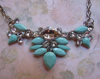 SALE Glass Turquoise Necklace
