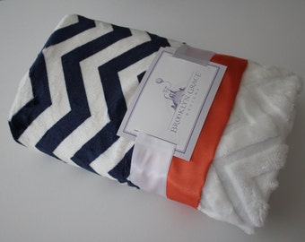 Navy and White Chevron with Solid White Embossed Chevron and Orange Satin Trim - Baby Blanket - Baby Boy or Girl, Crib Bedding, Nautical