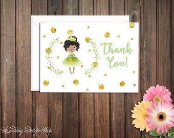 Thank You Cards - Princess Tiana and Laurel in Watercolor Style - Princess and the Frog - Set of 10 with Envelopes