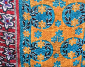 Vintage Kantha quilted cotton throw, twin