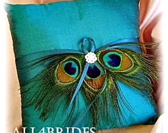 Peacock wedding Teal ring bearer pillow, peacock feathers wedding decorations.