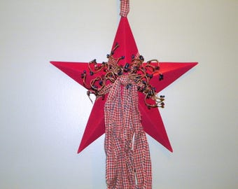 Burgundy 12 Inch Metal Star with Burgundy and Navy Pip Berries