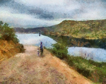 Custom painting, Digital Painting from photo, Monet style, Landscape, Free Shipping!