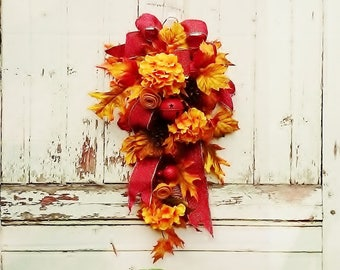 Fall Wreath, Autumn Wreaths, Front Door Wreaths, Fall Door Swags, Front Door Swags, Thanksgiving Wreaths, Front Porch Decor, Swags      W340