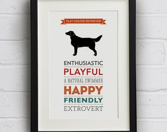 Flat Coated Retriever Dog Breed Traits Print