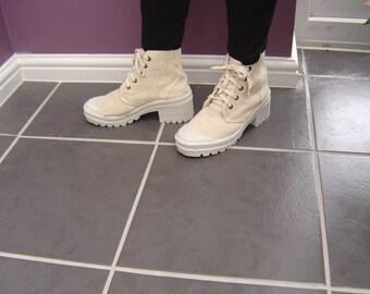 Cream Canvas Boot