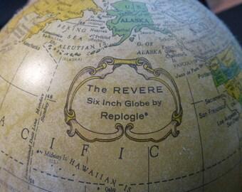 "Vintage ""REVERE""  6in Metal Desktop GLOBE by REPLOGLE with Time Dial"