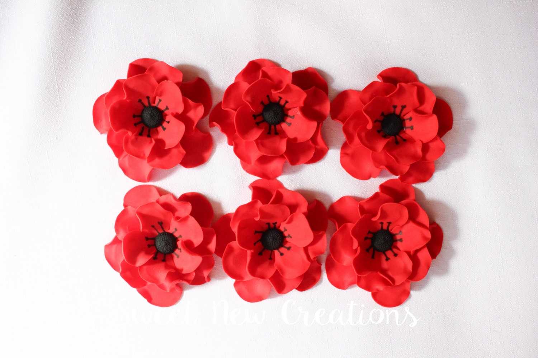 Fondant flowers 3 anemone red black edible flowers zoom mightylinksfo