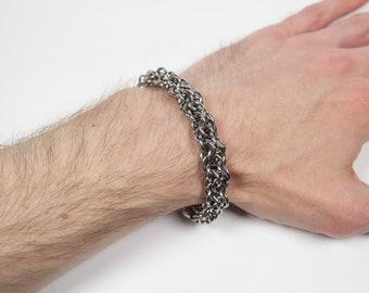Liquorish Lace Bracelet, Chainmaille Bracelet, Stainless Steel, Chainmail Bracelet, Chain Maille Bracelet, Mens Bracelet, Mens Jewelry