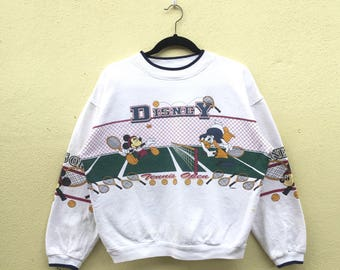 Rare!!DISNEY TENNIS OPEN Mickey Mouse And Donald Duck Printed White Crew Neck Sweatshirt Walt Disney Clothing Size Small