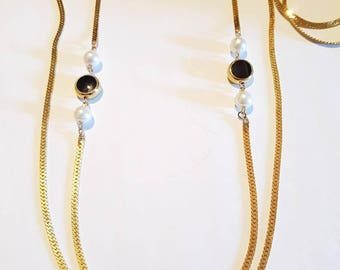 Gold filled long double strand necklace.