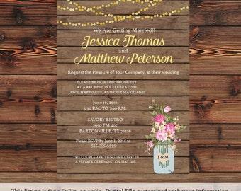 Rustic Mason Jar Wedding Invitation Country Wedding