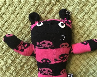 Handmade Punk Pink Sock Bear With Skull and Crossbones