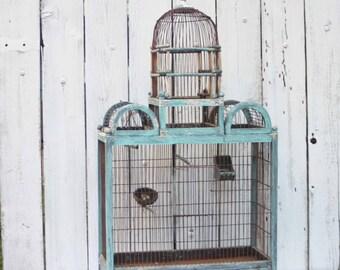 Large Victorian Bird Cage with Original Copper Feeder, Large Wooden Bird House, Antique Bird Cage, Bird House, Decorative Bird Cage,