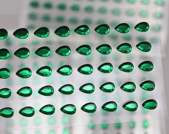 6x4mm Green Emerald Stick On Teardrop Pear Rhinestones Gems For DIY Cards and Invitations  - 50 Pieces