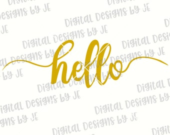 Hello Digital Download Cut File Vector, SVG, Png, Eps Cut files for Silhouette and Cricut Commercial Use