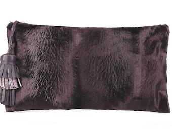 INTERCHANGEABLE CLUTCH BAG - Gatsby Faux Fur   2 in 1 Clutch Bag   Evening Bag   HandMade Clutch   Handbag   Purple Purse