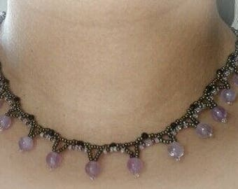 Amethyst Beaded Collar Necklace