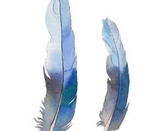 Blue feather print A5, 10x8, A4; blue home decor; Rosella tail feathers vertical wall art print; watercolour print; made in Australian