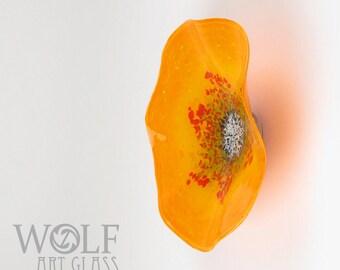 MADE TO ORDER Blown Glass Wall Art Saffron Orange Wildflower Poppy Flower Glass Sculpture