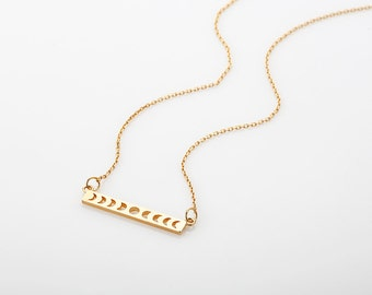 Charm necklaces etsy moon phases necklace gold bar pendant necklace crescent moon charm necklace rose gold aloadofball Choice Image