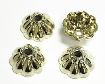 4pc 17mm pale gold finish metal bead caps-7764J