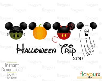 2017 Disney Halloween Trip - INSTANT DOWNLOAD - Family Vacation Iron On Transfer - DIY Disney Shirts