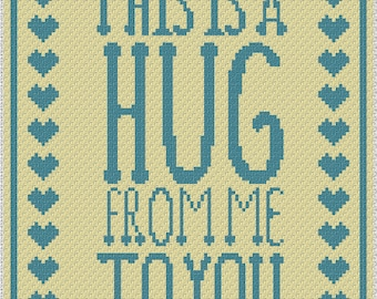 Give a Hug In A Rug  C2C Crochet Pattern/Chart/Graph PLUS  FREE Written Patterns