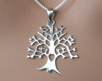 Family Tree of Life Sterling Silver Pendant Charm Grandmother Mother Jewelry Mother's Day Gift