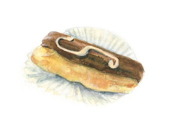 Watercolor Eclair, Eclair Print, Chocolate Eclair Print