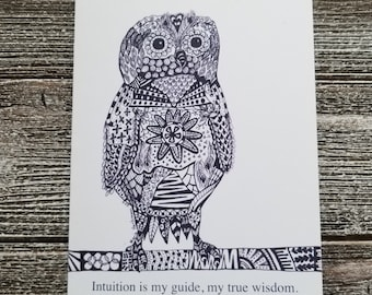 Owl Zentangle Folded Notecard-Intuition and Wisdom