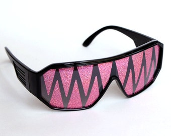 Rasslor Pink Shark Teeth Party Shield Sunglasses