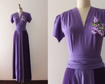 vintage 1930s evening gown // 30s two tone purple rayon maxi dress