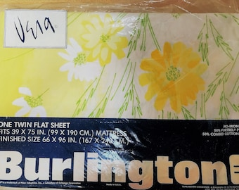 Retro twin flat sheet Yellow and White