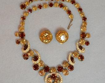 Weiss Rhinestone Necklace & Earring Set Vintage