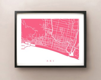 Aki Map Print - Japan Art Poster