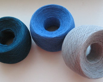 Linen Yarn Dove Gray Blue Cornflower Blue Green 200 gr (7 oz ), skein / 1 ply, each skein contains approximately 1900-2100 yds
