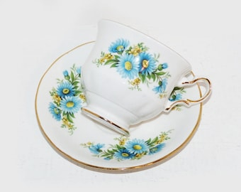 Queen Anne Tea Cup and Saucer Antique Teacups, Bone China Tea Cups  Blue Daisy - 1933